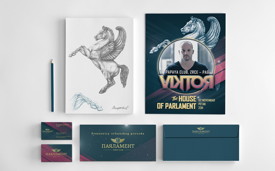 club parlament visual id stationery design Club Parlament